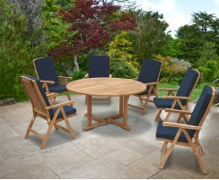 Canfield Round 1.5m Table & 6 Bali Reclining Chairs