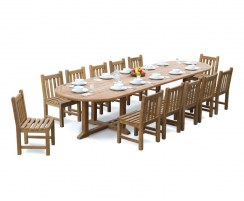 12 Seater Teak Dining Set with Hilgrove Oval 4m Table & Side Chairs