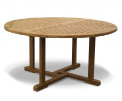 Canfield Teak Round Garden Dining Table – 1.5m
