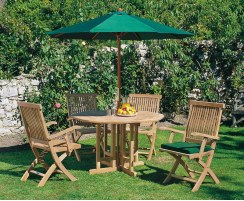 Berrington Round Gateleg 1.2m Table with 4 Brompton Armchairs