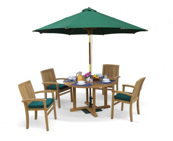 Canfield Round 1.2m Table & 4 Bali Stacking Chairs, Teak Patio Set