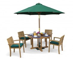 Canfield Round 1.2m Table & 4 Monaco Stacking Chairs, Teak Patio Set