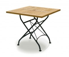 Square Folding Bistro Table, Black – 0.8m