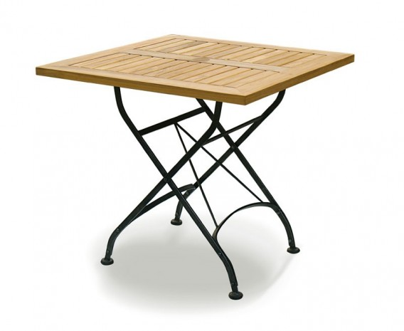 Square Folding Bistro Table, Black – 0.8m