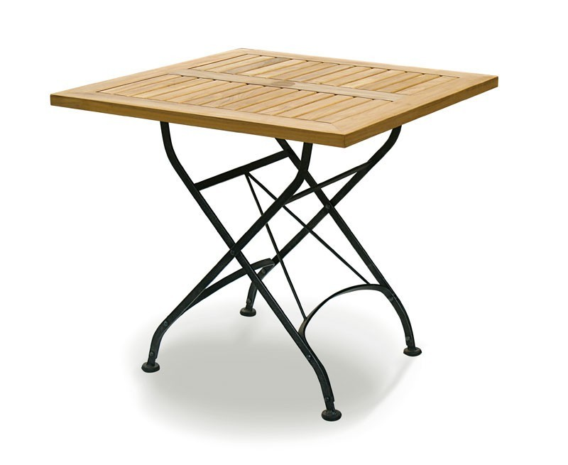Square Folding Bistro Table, Raven Black – 0.8m