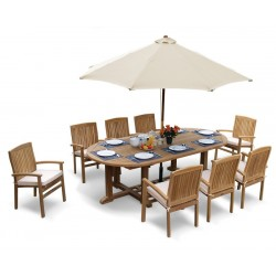 Hilgrove Oval Table 2.6m & Bali Stacking Chairs, 8 Seater Patio Set