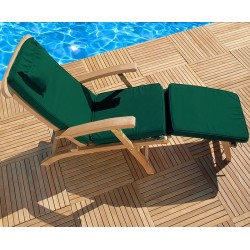 reclining teak steamer chair with footrest and cushion