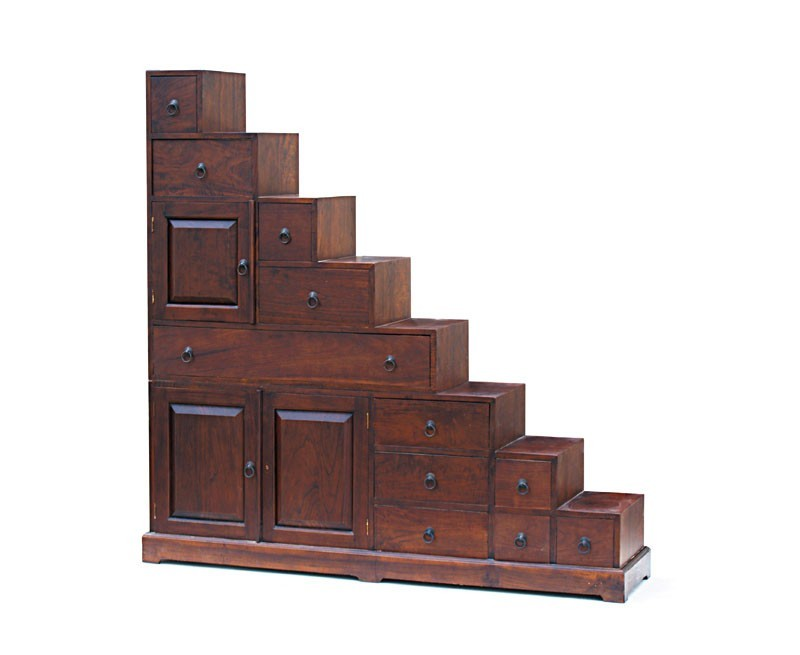 Reversible Antique Step Cabinet, Japanese Kaiden Tansu Step Chest ...