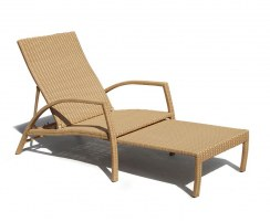 Monaco Rattan Outdoor Sun Lounger, Garden Sun Bed, Tanning Chair