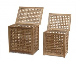 Set of 2 Tango Teak Outdoor Storage Boxes – M & L