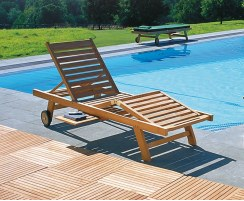 Luxury Teak Sun Lounger with FREE Cushion