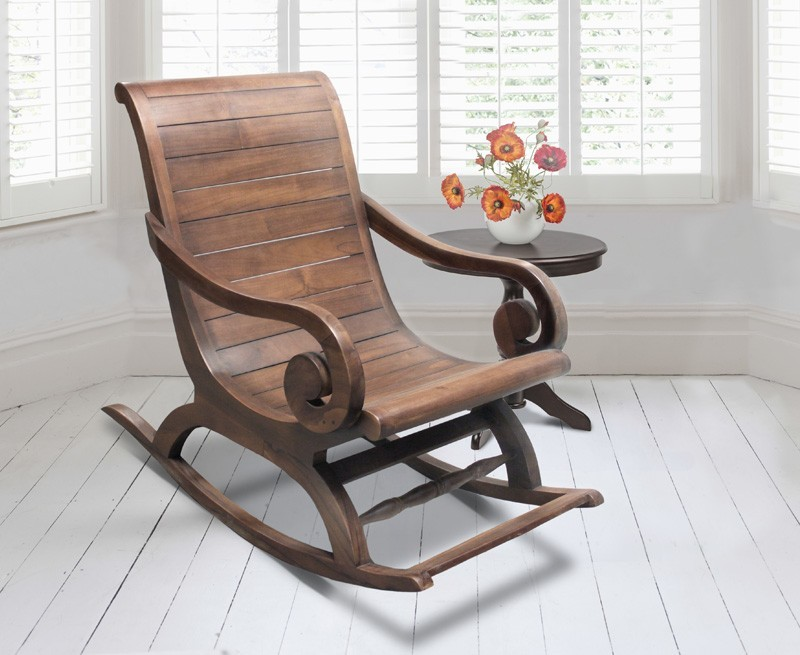 Capri Plantation Rocking Chair, Indoor Rocker Chair, Teak