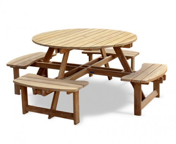 Deluxe Round Picnic Table, Teak Circular Picnic Bench