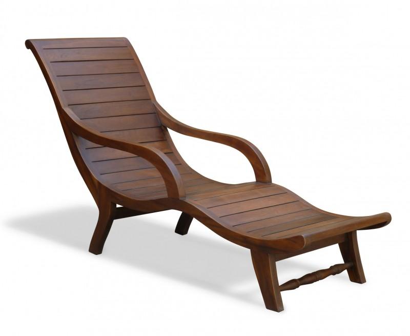 Capri Indoor Chaise Longue, Reclaimed Teak