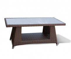Riviera Rattan Glass-Top Coffee Table, Wicker Coffee Table