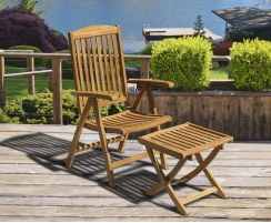 Cheltenham Outdoor Reclining Chair with Footstool, Teak