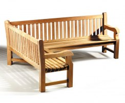 Balmoral Large Teak Outdoor Corner Bench, 5-6 Seater, Left Orientation