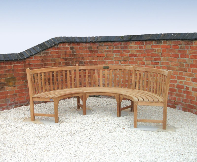 Henley Semi Circle Bench Curved Teak Bench