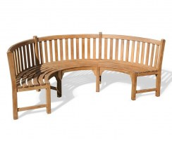 Henley Semi-Circle Bench, Curved Teak Bench