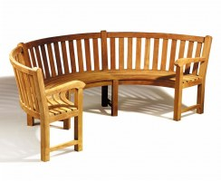 outdoor curved semi circular bench