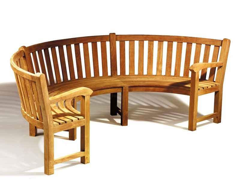Henley Semicircular Bench With Arms Curved Teak Bench