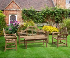 Lutyens-Style 1.95m Bench & Armchairs with Hilgrove Coffee Table Set