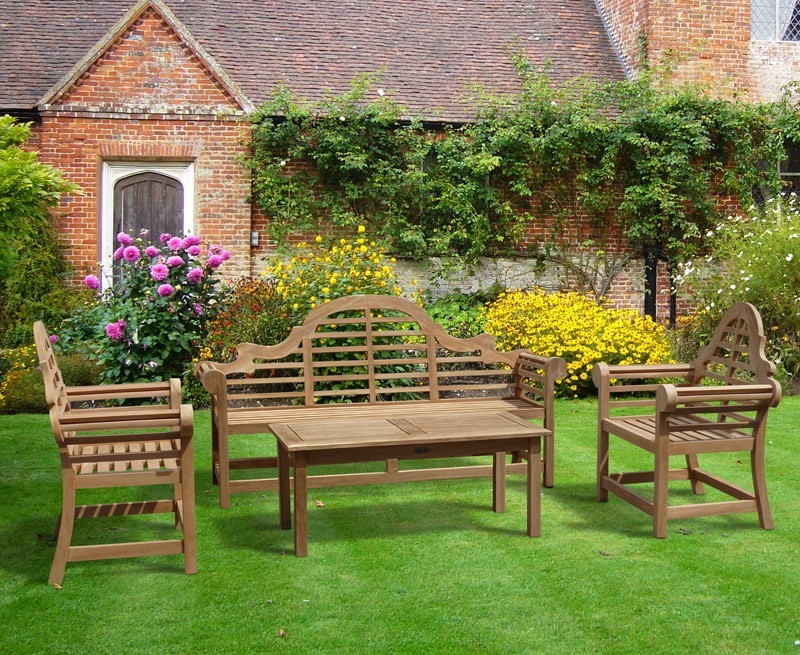 Lutyens 1.95m Bench & Armchairs with Hilgrove Coffee Table Teak Set