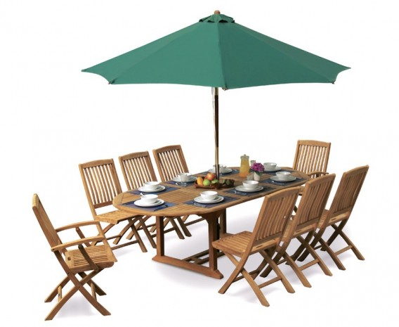 Brompton Extending 1.2 x 1.8 - 2.4m Table & 8 Bali Folding Chairs Set