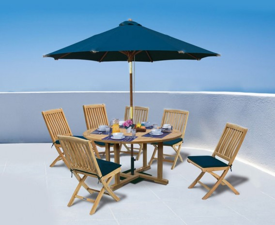Canfield 1.5 Teak Table with 6 Bali Side Chairs