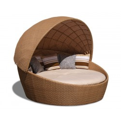 wicker woven daybed with canopy