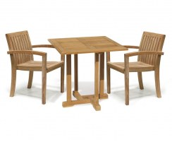 Canfield Square Table with 2 Monaco Stacking Chairs Set