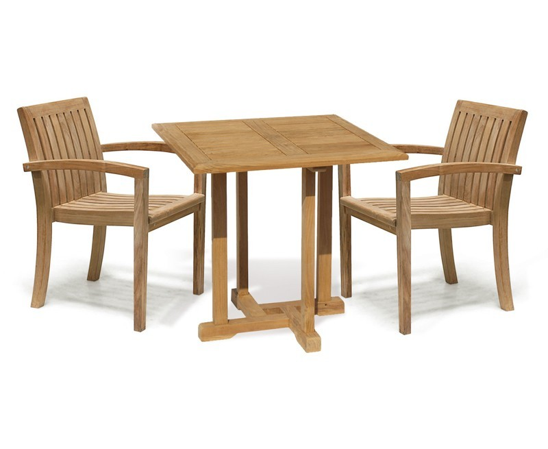 Square Garden Table and Stackable Chairs