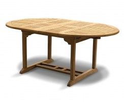 6 Seater Teak Double-Extending Table 1.2 - 1.8m, extended position