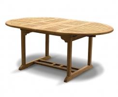 6 Seater Teak Double-Extending Table 1.2 - 1.8m, extended position
