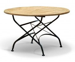 Bistro Teak & Metal Round Outdoor Folding Dining Table – 1.2m