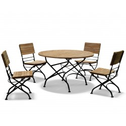 Teak Folding Bistro Round 1.2m Table & 4 Side Chairs