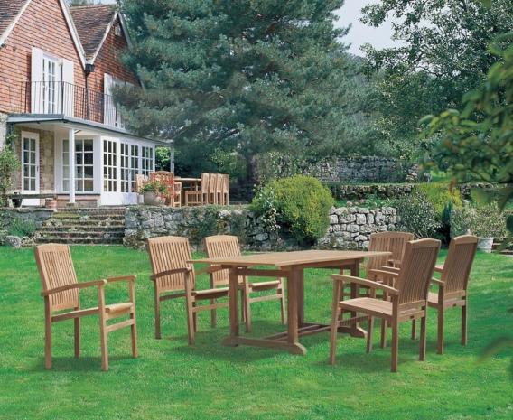 Hilgrove Rectangular 1.8m Table & 6 Bali Stacking Chairs Teak Set