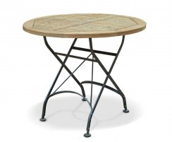 Bistro Teak & Metal Round Outdoor Folding Dining Table – 0.9m