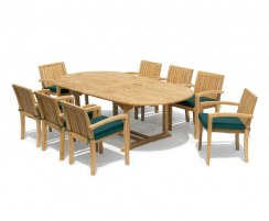 Brompton Extending 1.8 - 2.4m Table & 8 Monaco Stacking Chairs