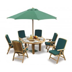 Outdoor Dining Set with Titan Round Table 1.5m & 6 Bali Reclining Chairs