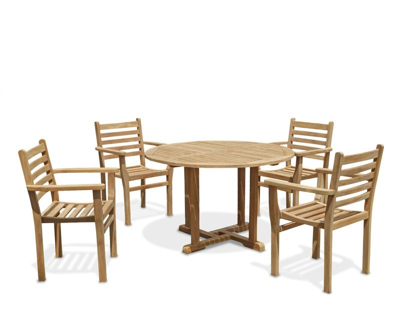 Canfield round table 4 yale stacking chairs teak patio dining set Home depot teak patio furniture