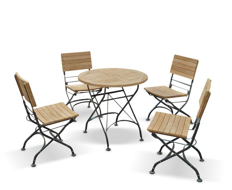 Bistro Round 0.8m Table & 4 Chairs Teak & Metal Folding