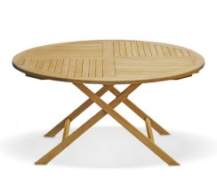 Suffolk Teak Round Folding Garden Dining Table – 1.5m