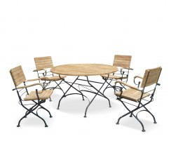 Bistro Round 1.2m Table & 4 Armchairs Teak & Metal Folding Dining Set