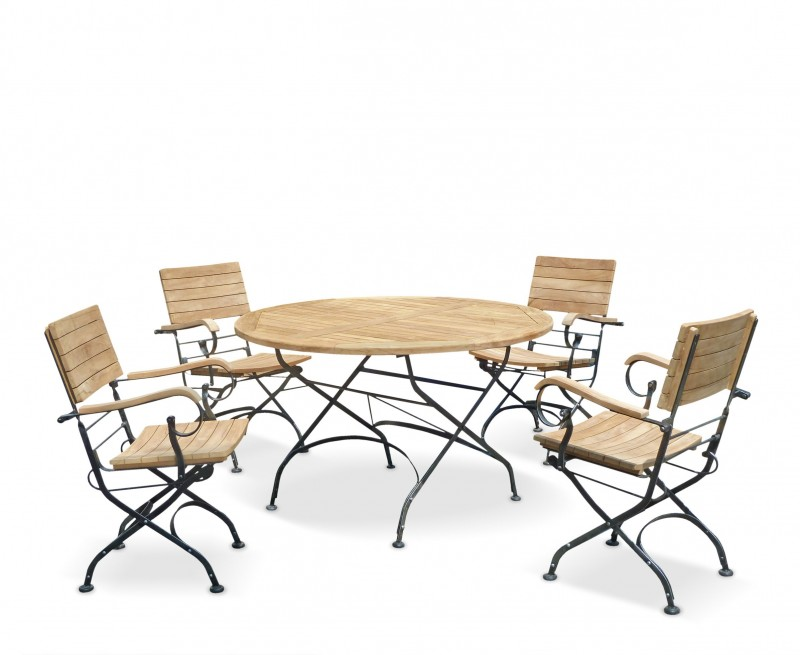 Bistro Round 1.2m Table & 4 Armchairs Teak Folding Dining Set