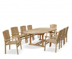 8 Seater Oval Extending Table & Stacking Chairs