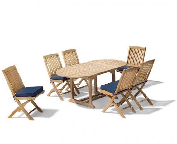 Brompton Bijou Extending 1.2 - 1.8m Table & 6 Bali Side Chairs