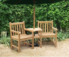 Windsor Teak Companion Seat, Jack and Jill Bench
