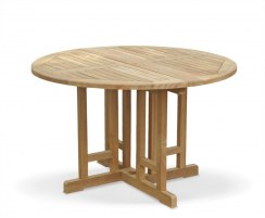 Berrington Teak Round Gateleg Drop Leaf Dining Table – 1.2m