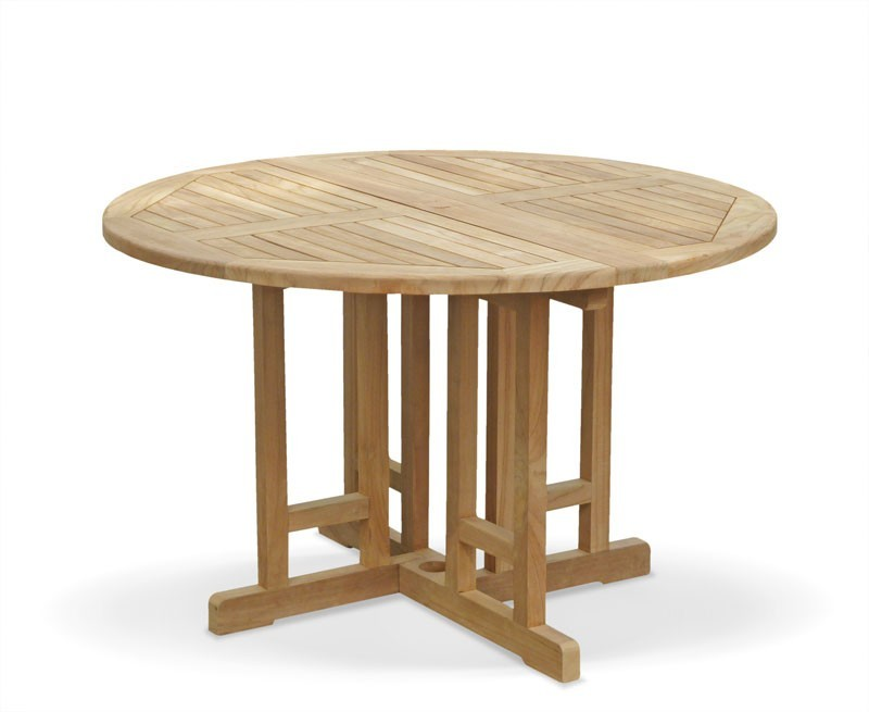 Berrington Teak Round Gateleg Drop Leaf Folding Outdoor Dining Table